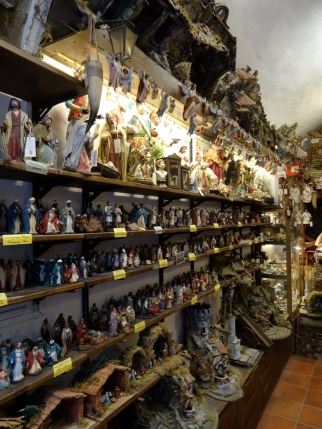 Narrow shop in Via San Gregorio Armeno in Naples, Italy