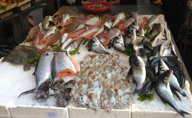 Fish for sale this Christmas in Naples, Italy