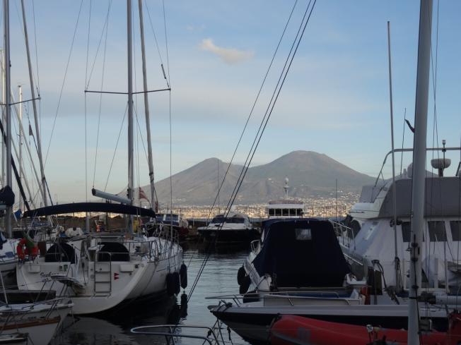 View from the marina towards Vesuvius, Naples, Italy