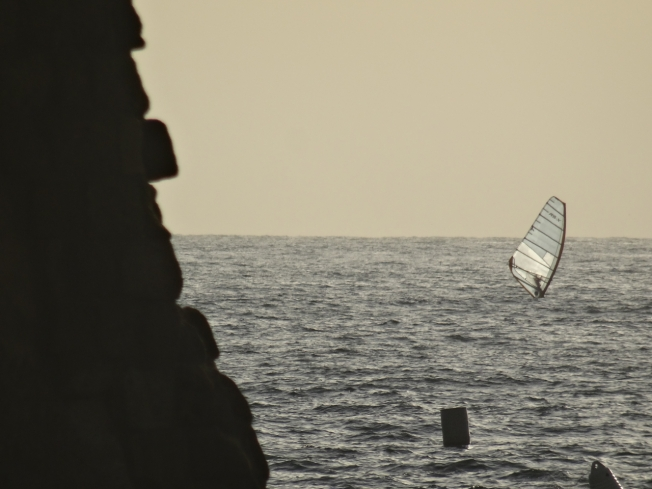 Sail at the edge of Castel dell'Ovo, Naples, Italy
