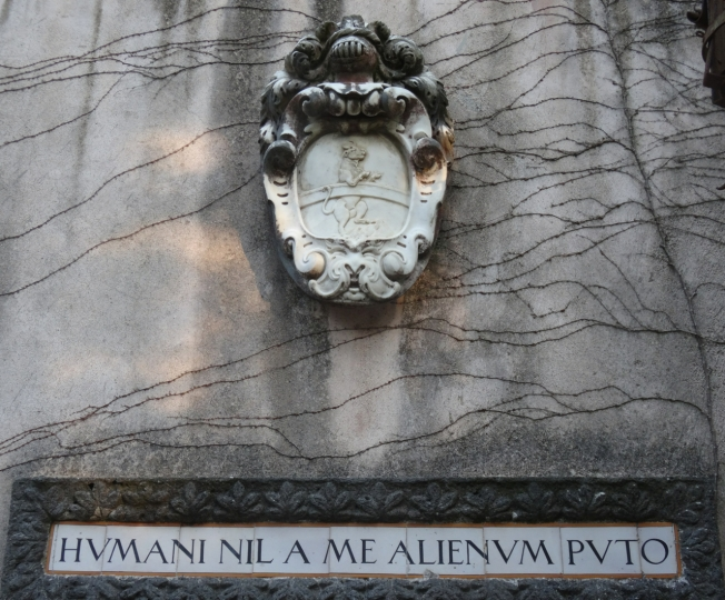 """The Grimthorpe family crest and then this quotation: """"Nothing of man is alien to me"""""""