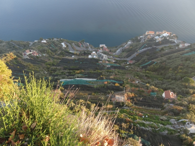 The view from Villa Cimbrone down over the terraces to the sea and the Amalfi Coast below