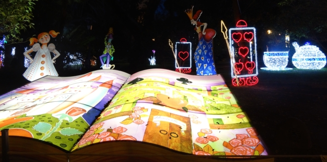 Alice in Wonderland in lights in Salerno, Italy