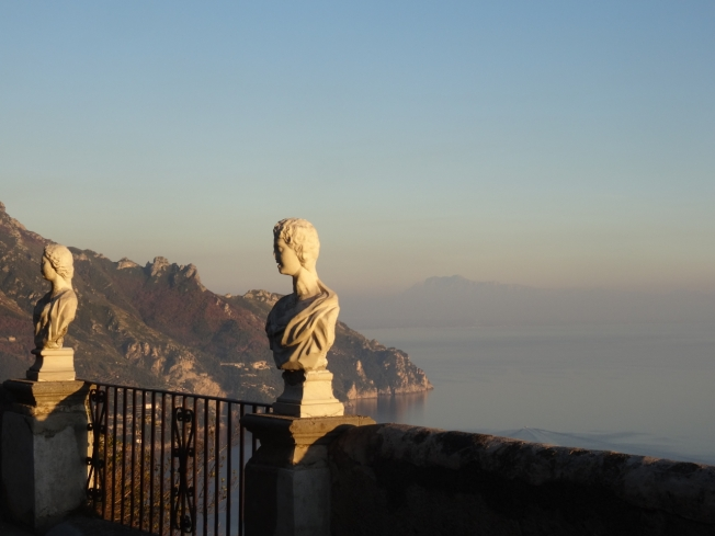 View across the sea from the Villa Cimbrone in Ravello, Italy