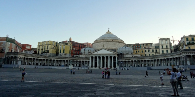 The Piazza del Plebiscito in Naples, Italy