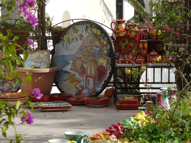 Ceramics for sale in Positano on the Amalfi Coast in Italy