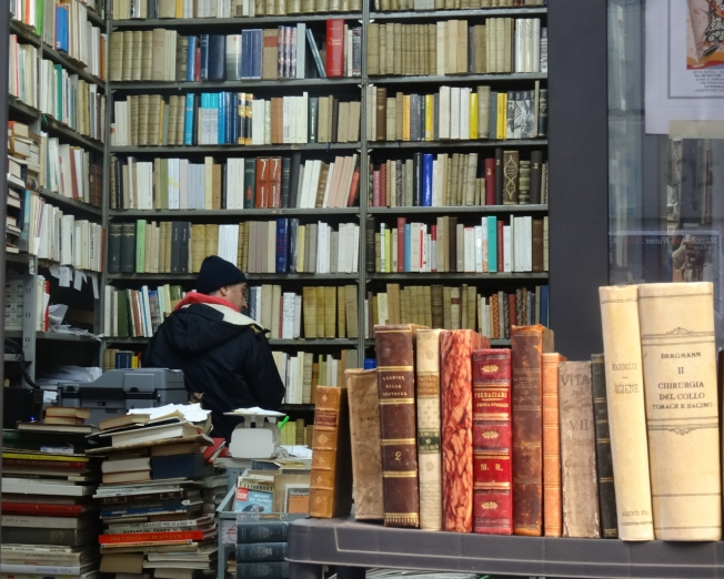A bookseller in Naples, Italy