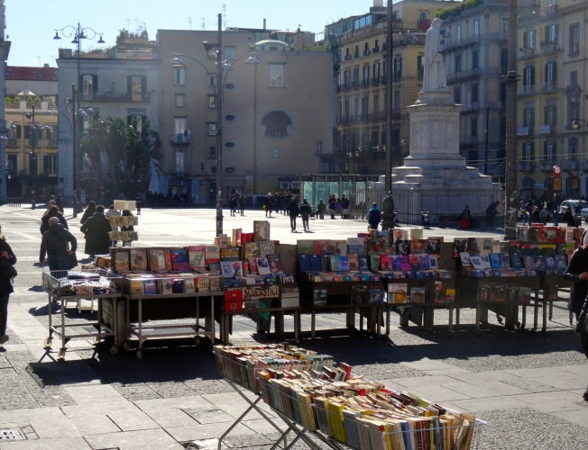 Bookstalls in Piazza Dante, Naples, Italy