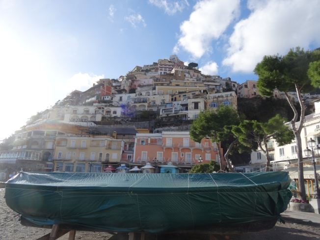 Positano on the Amalfi Coast in Italy - still wrapped up for winter