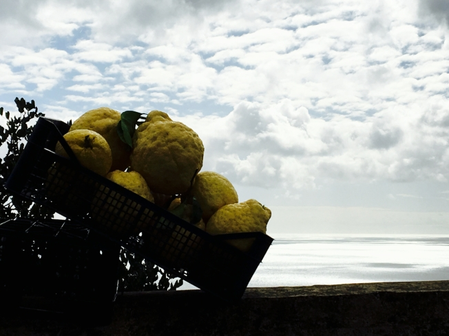 Lemons for sale on the edge of the road on the Amalfi Coast in Italy
