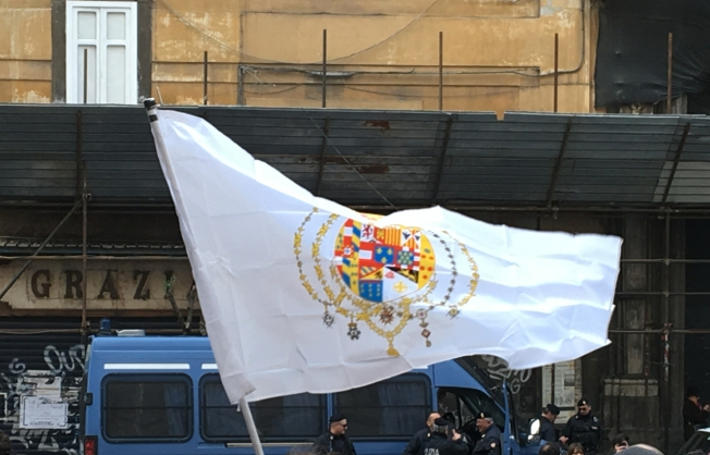The flag of the Kingdom of the Two Sicilies is flown on the steps of the Duomo in Naples, Italy at the demonstration in March, protesting changes to the administration of the chapel and treasures of San Gennaro