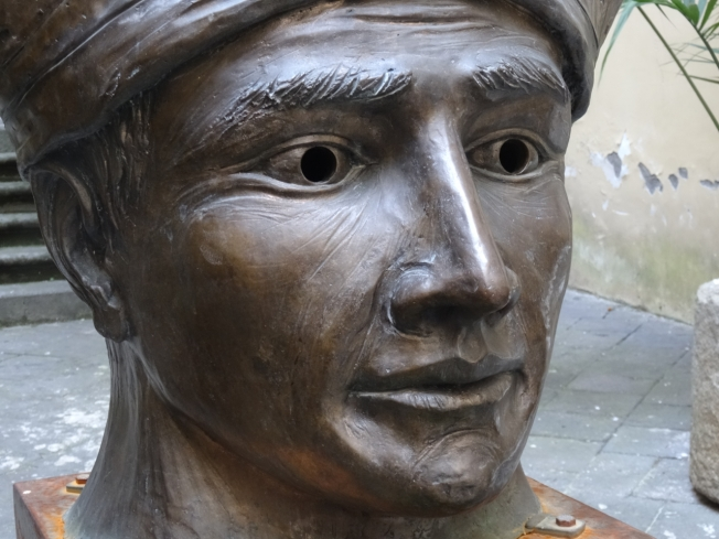 Metal bust of San Gennaro outside the museum in Naples, Italy that houses his treasures