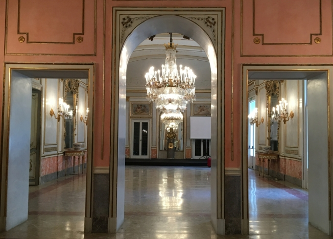 The ballroom in Villa Pignatelli, Naples, Italy