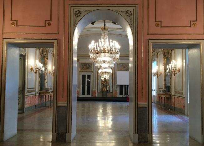 The ballroom in Villa Pignatelli, Naples, Italy