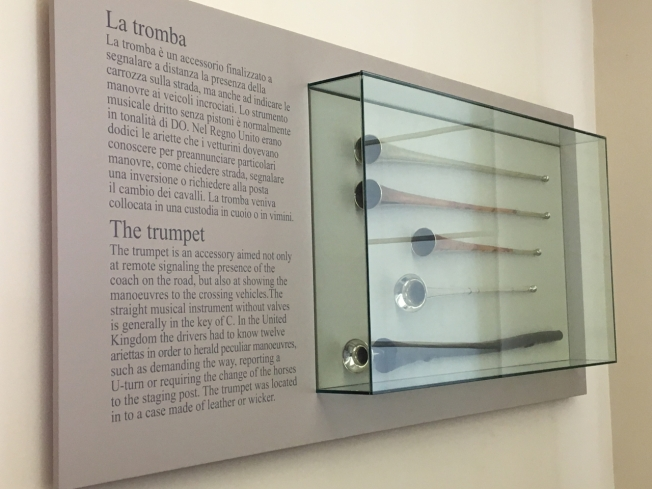 Display of trumpets in the Museo delle Carrozze in Naples, Italy