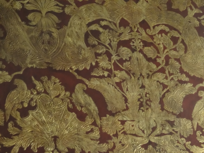 The leather wallpaper in what used to be the Acton's billiard room in the Villa Pignatelli in Naples, Italy