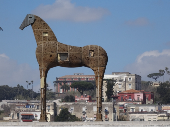 Mimmo Paladino's horse on the roof of the MADRE Museum in Naples with the Museo di Capodimonte behind