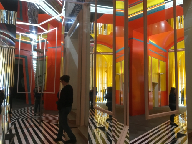 The entrance hall of the MADRE Museum in Naples - a project by Daniel Buren