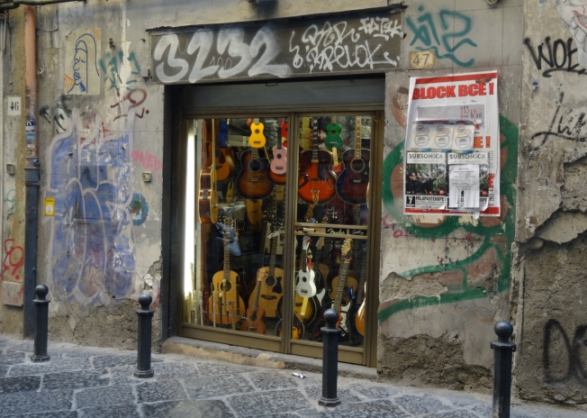 A music shop in Naples, Italy