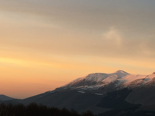 Evening light on the mountains around Roccaraso in Abruzzo, Italy