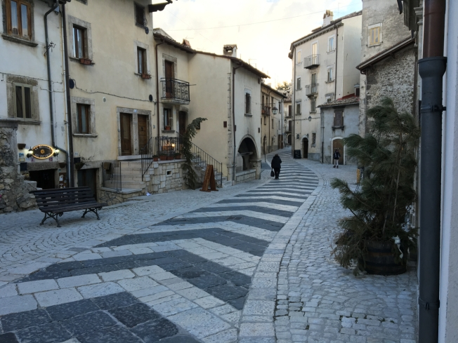 The streets in the old part of Pescocostanza in Abruzzo, Italy