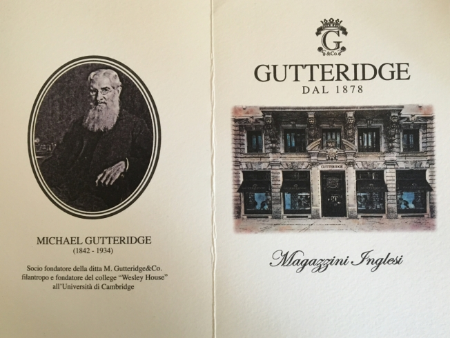 Part of a brochure giving the history of Gutteridge & Co, picked up from one of their stores in Via Chiaia in 2015