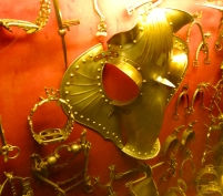 Display of horse armour and tack - Museo Filangieri, Naples, Italy
