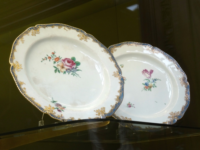 Two plates, rare survivors we were told of a Capodimonte porcelain dinner service