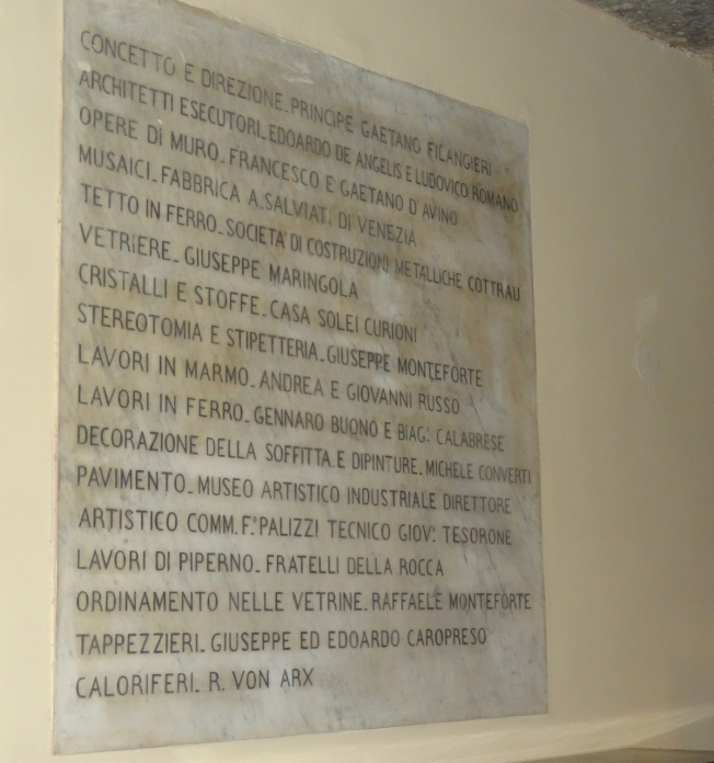 The Museo Filangieri gives recognition to those who helped with the furnishing and decoration of the museum