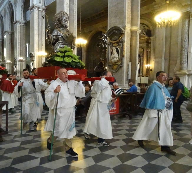 The parade of the saints begins from the Duomo in Naples, Italy