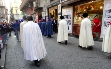 Accompanying the procession of saints through Naples, Italy