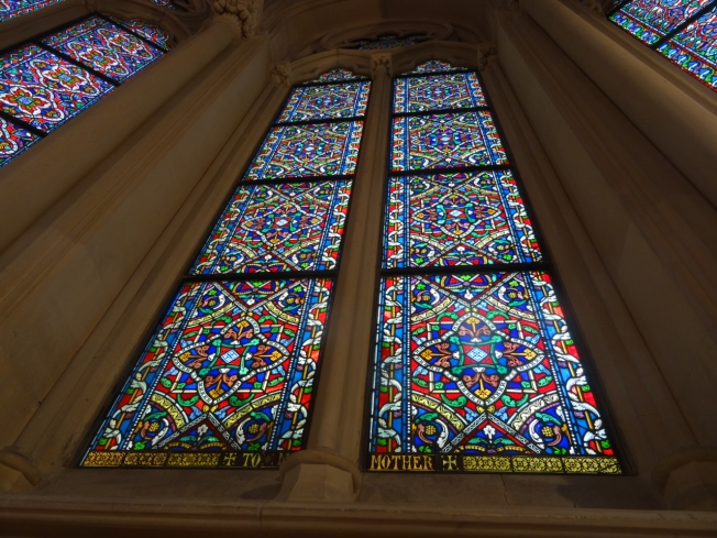 Some of the stained glass windows Michael Rae had cleaned and properly reinstalled into Christ Church