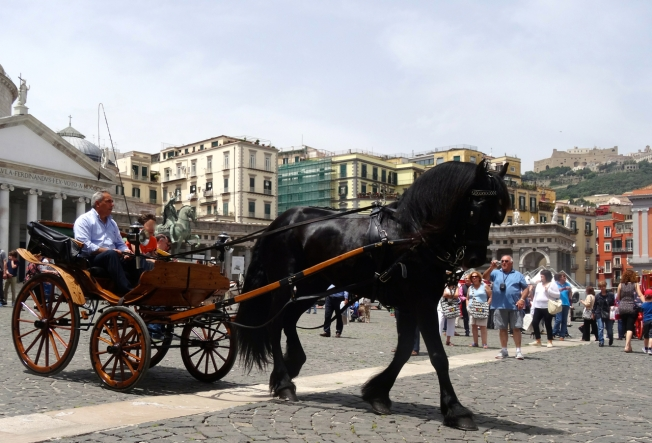 The carriage parade in Naples, Italy