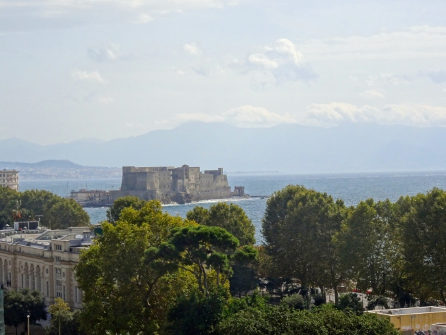 View from a terrace towards Castel dell'Ovo