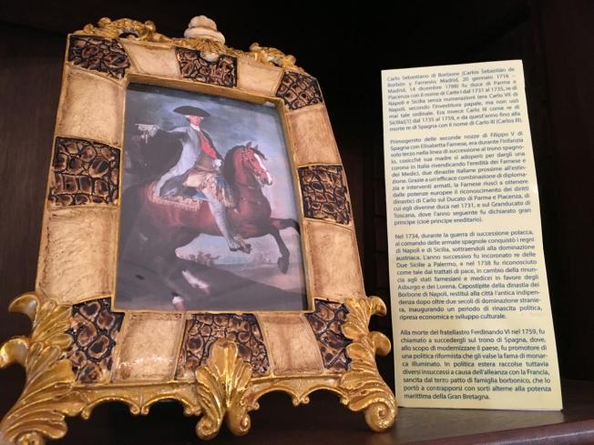 Carlo Sebastiano di Borbone (this small picture and information is on display in 'La Casina Vanvitelliana' on Lago Fusaro, near Naples, Italy