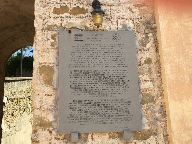 "A plaque in Castellabate describing the importance of the Cilento area as a UNESCO World Heritage Site: ""... a cultural landscape of exceptional quality ..."""