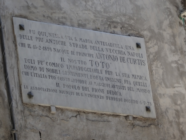 Plaque marking the house where Totò was born in Sanità in Naples, Italy on 15 February, 1898