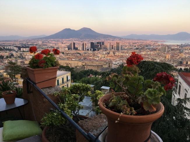 The view over Naples, Italy from one of the terraces of La Torre di Rò (Torre del Palasciano), completed in 1868