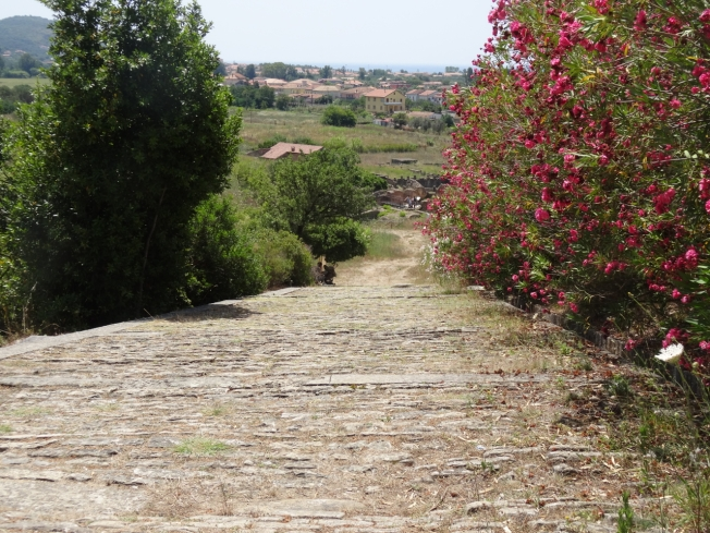The Via di Porta Rosa at the archaeological site of Velia in Cilento, Italy