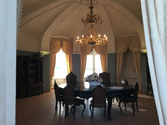 The ground floor of La Casina Vanvitelliana on Lago Fusaro near Naples, Italy
