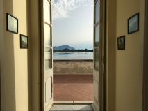 View to Ischia from La Casina Vanvitelliana on Lago Fusaro in Campania, Italy