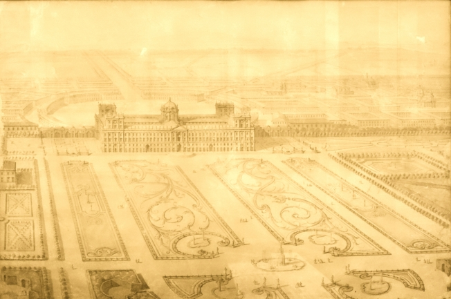 Plans for the royal palace at Caserta near Naples, Italy
