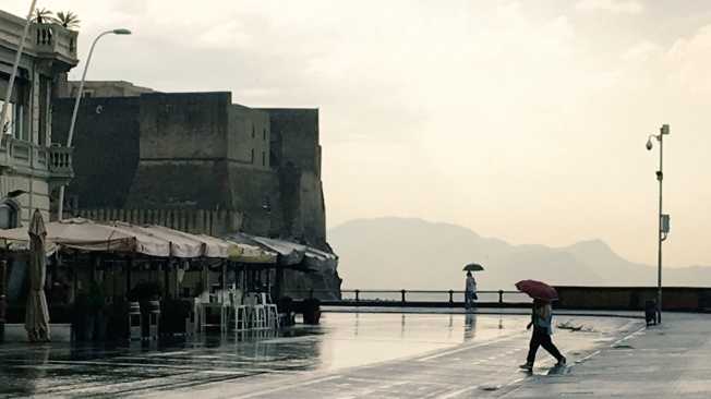 Castel dell'Ovo on the seafront in Naples, Italy