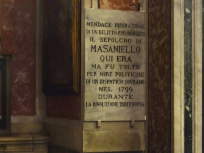 In memory of Masaniello in the Church of Santa Maria del Carmine in Naples, Italy