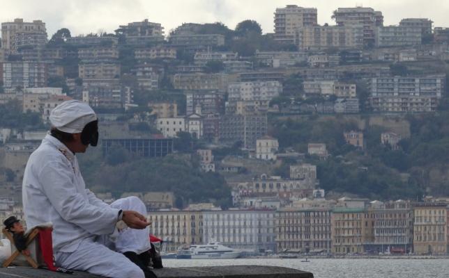 Pulcinella on the lungomare in Naples