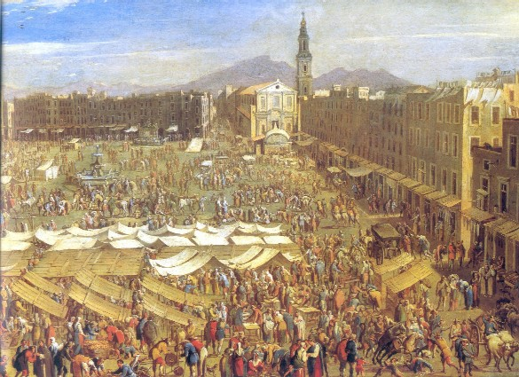 Piazza del Mercato in Naples, Italy (painting thought to be by Domenico Gargiulo and dated about 1654)