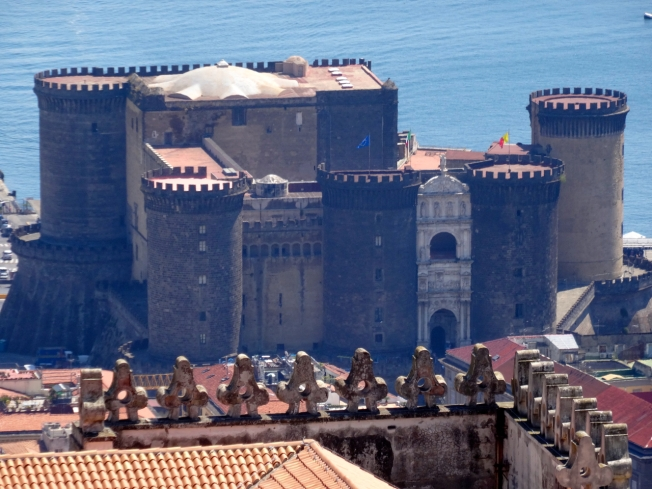 Naples, Italy - View of Castel Nuovo from Castel Sant'Elmo