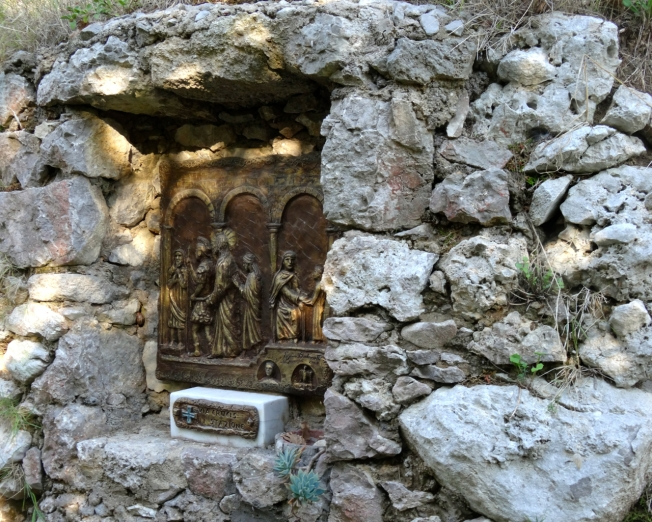 Station of the cross on the path through the valley of Cetrella on the island of Capri