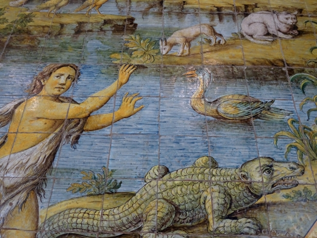 Detail from the tiled floor of the Church of San Michele in Anacapri