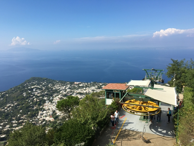 The chair-lift station at the top of Monte Solaro on the island of Capri